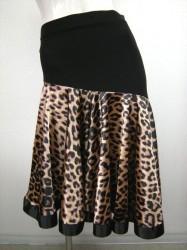 新柄♪【ss679】ミディアムスカート 裾テープ ヒョウ柄サテン切替 ブラックブラウン