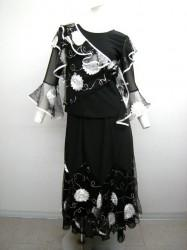 キュート♪【st798】上下スーツ お花トップス ロングスカート ブラックホワイト