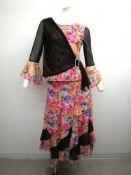 華やか【st799】上下スーツ 斜めドレープトップス ミディアムスカート ピンク花柄