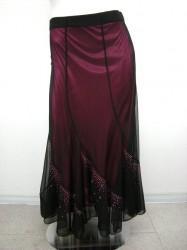 綺麗!!【ss693】ロングスカート 裏カラーサテン生地 ストーン付 ブラック×ピンク