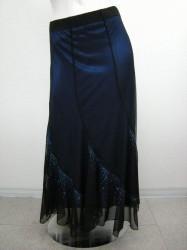 綺麗!!【ss694】ロングスカート 裏カラーサテン生地 ストーン付 ブラック×ブルー
