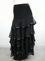 【ss695】ロングスカート 5段々 テープ付 ブラック