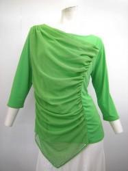 高品質【t608】社交ダンストップス 7分袖 斜めドレープ裾ストーン グリーン LLサイズ