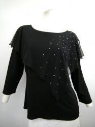 高品質【t610】社交ダンストップス 8分袖 ケープストーン飾り ブラック LLサイズ
