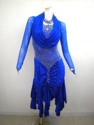 《最終処分》【wp280】社交ダンスドレス 正装ラテン裾フリル ロイヤルブルー M 59000円を↓