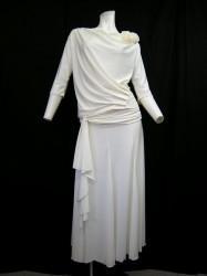 夏色♪【st813】上下スーツ ドレープ襟トップス ヒモ付きスカート ホワイト