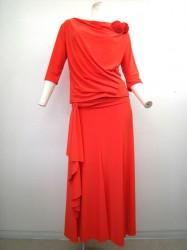 夏色♪【st814】上下スーツ ドレープ襟トップス ヒモ付きスカート オレンジ