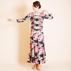 903489d15a906 《特価》 wp602 ロングワンピース シャーリング 裾ホーステープ ピンク花柄 12000