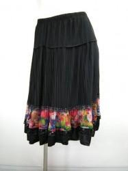 値下げ【ss730】ミディアムスカート 中間プリーツ 裾スパンコール ブラック×赤花 2570円を↓