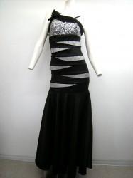 キュート【k-73】ステージ衣装 マーメイドタイプ スパンコールから段々切替 M ブラックグレー