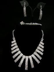 お買得【a767】4点セット ネックレス&イヤリング&ブレス&リングセット カーブ ホワイトシルバー