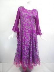 5b352f12d414e 《ステージ衣装》 wp614 ロングワンピース ラメお花 ピンクパープル