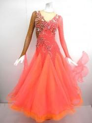 5f6df6c4b767c 《再入荷》 wp569 社交ダンスドレス正装モダン オーガンスカート オレンジ M