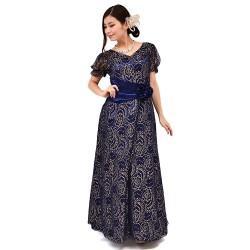 7750aa6846434 カラオケ舞台衣装 k-110 ロング丈ドレス 花柄金糸 ネイビーゴールド