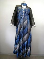 カラオケ衣装【k-82】ハイネック窓 きらきらグラデーション ゆったりサイズ ブルー 13800円を