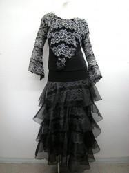 高品質【st865】上下スーツ レース刺繍 段々スカート ブラック