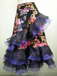 新柄【ss852】社交ダンスロングスカート 斜めフリル飾り 花柄
