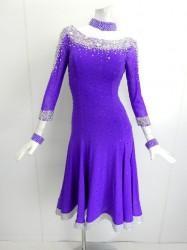 43dae897cb349 新入荷 wp643 社交ダンスドレス 正装ラテンシンプルパープル Mサイズ