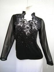高品質【t305】社交ダンストップス 長袖 おもしろ襟 刺繍飾り ブラックシルバー