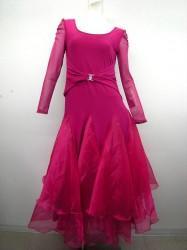 新色★【wp353】ダンスワンピース ウエストバックル スカートオーガンジー ピンク