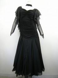 【新入荷】【wp355】社交ダンス衣装 ロングドレス ギャザー チョーカー付 ブラック