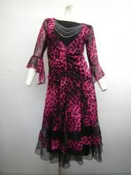 【st888】社交ダンススーツ ヒョウ柄重ね着風トップス ミディアムスカート ピンク