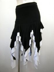 【ss863】社交ダンス衣装 ラテンミニスカート 超ギザギザ ブラックホワイト