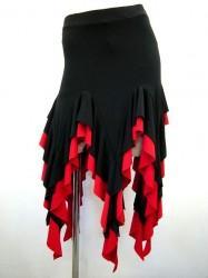 【ss864】社交ダンス衣装 ラテンミニスカート 超ギザギザ ブラックレッド
