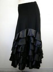 豪華!!【ss867】社交ダンスロングスカート サテン段々フリル ブラック