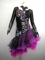 【wp372】社交ダンスドレス 正装ラテン スカートグラデーション L 黒ピンク59800円を↓