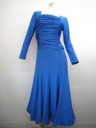 【wp373】ロングワンピース シャーリング 裾ホーステープ ブルー